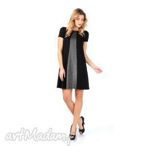 Czarna brokatowa sukienka ze srebrną wstawką, lalu, sukienki, sylwester