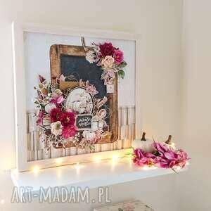 dekoracje jesienny layout/obraz w drewnianej ramie 33x33 cm, layout