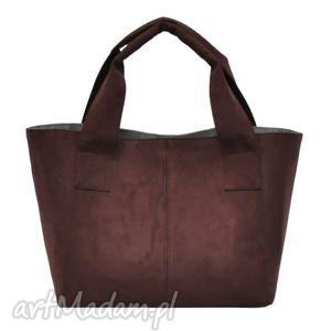 14-0007 brązowo-bordowa damska torebka do ręki shopper bag pelican, modne, damskie