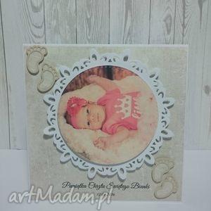 hand-made kartki pamiątka chrztu swiętego ze zdjęciem maluszka
