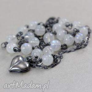 kamień księżycowy i srebro - bransoletka serduszko, księżycowy, kamień