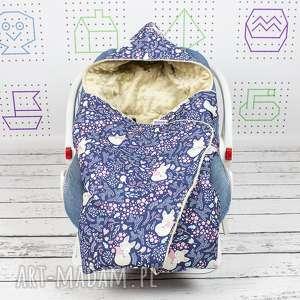handmade dla dziecka kocyk do nosidła samochodowego śpiące lisy