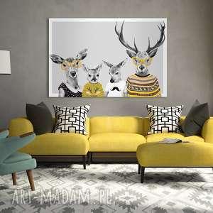 drukowany obraz z rodziną jeleni - jelenie w ubraniach 120x80 cm 02234