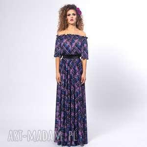sukienki vanessa - violet mix, długa, elastyczna, krata