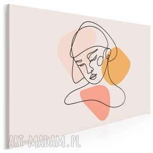 obraz na płótnie - minimalizm portret pastele 120x80 cm 96303, kobieta