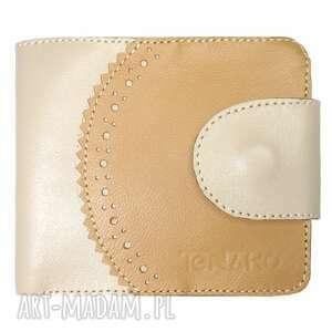 portmonetka skórzana elizium beżowo-brązowa, beżowa, prezent