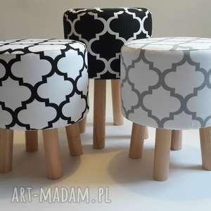 pufa koniczyna maroco biało - szara - puf, stołek, ryczka, taboret, siedzisko