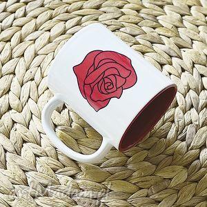 BIG RED ROSE duży biały kubek 330 ml, rose, red, kawa, tea, mugs, cup