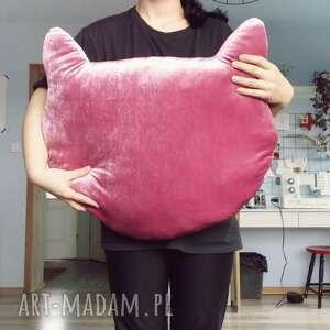 aksamitna poduszka kocia główka różowa, poduszka, aksamit, kot, kotek, cat