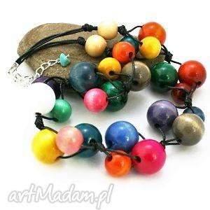naszyjnik kolorowy drewniany - naszyjnik, korale, drewniane, wielokolorowy, kulki, sznurek