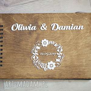 księga gości z wiankiem imiona, księga, gości, wpisów, drewno, album, pamiątka