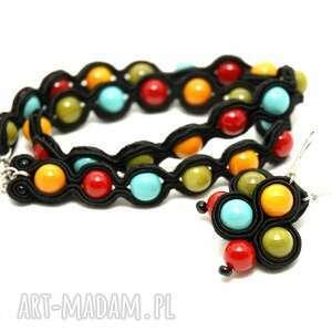 komplet sutasz z kolorowymi koralikami, bransoletka, kolczyki, sznurek, kolorowe
