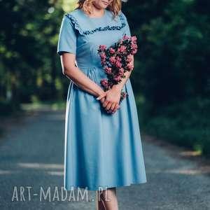 Niebieska sukienka midi z falbanką rozmiar S, M, L, sukienka, midi, weselna