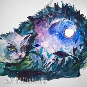 TAJEMNICE KOCICH NOCY akwarela artystki plastyka Adriany Laube, kot, noc, księżyc