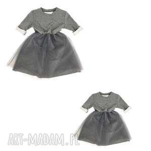 sukienka szara dla mamy i dziecka, mama, zestaw