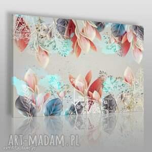 obraz na płótnie - kompozycja kwiaty 120x80 cm 62201, kwiaty, liście
