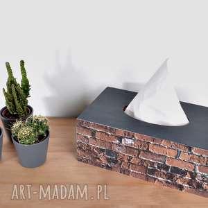 ręcznie robione pudełka chustecznik - pudełko na chusteczki czarny cegła pruska