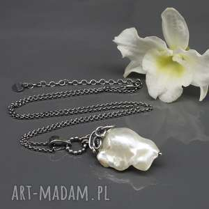 wisiorki wisior z perłą słonowodną sea pearl 4, srebrny wisior, srebro, wire
