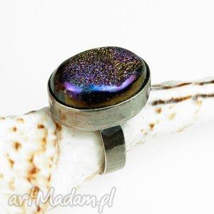 a531 Pierscionek srebrny z druzą kwarcu, pierścionek, srebrny, druza