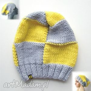 komplet 2 czapek unisex w kratę szaro-żółtą, komplet, zestaw, krata, unisex, czapka