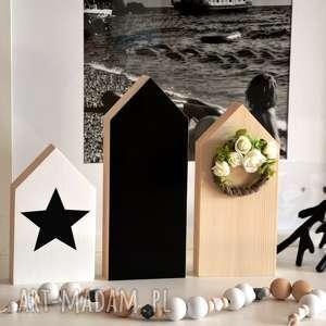 3 x domki drewniane 24 cm, domki, drewniane, domek, wianek, tablicowy, gwiazda