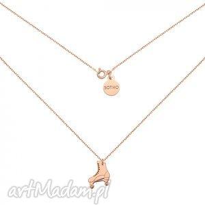 naszyjniki naszyjnik z wrotką różowego złota, modny, naszyjnik, zawieszka, srebro