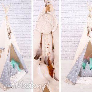 handmade pokoik dziecka tipi namiot do pokoju lub ogrodu - szare serduszka