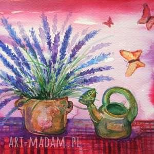 """lawendowe motylki"" pi art lawenda, akwarela, prowansja"