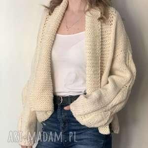 ciepły sweter ecru, sweter, kardigan, na drutach