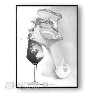 grafika w ramie kobieta jak wino 30x40, czarno białe, nowoczesne, jasne