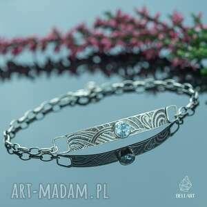 hand-made srebrna bransoletka łańcuszek z topazem