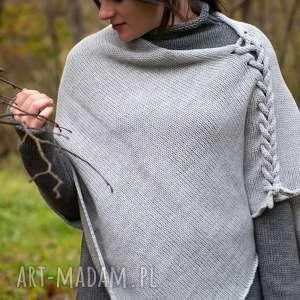 ponczo szare, oversize, wełniane ponczo, z warkoczem, sweter