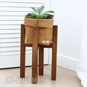 kwietnik, stojak na kwiaty dąb brąz - do donic max 20 cm, kwietnik drewniany