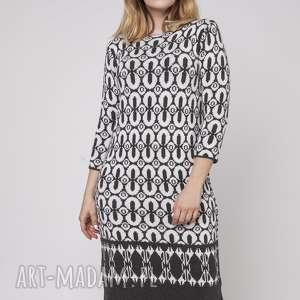 dzianinowa sukienka, suk005 grafit/ecru mkm, dzianina, jesień, dopracy