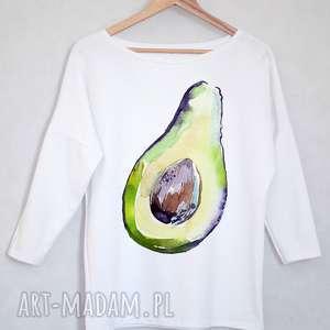 AWOKADO bluzka bawełniana biała z nadrukiem L/XL, bluzka, bluza, nadruk, avokado