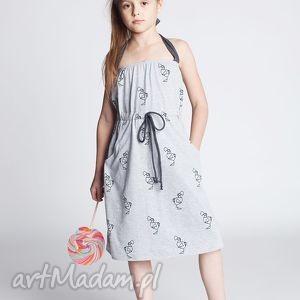 pod choinkę prezenty, sukienka dsu12m, sukienka, szelki, bawełna, ptaki, sportowa