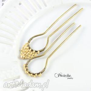 retro pearl - szpilki do wŁosÓw komplet 2 sztuk, szpilki, dowlosów, retro, mosiądź