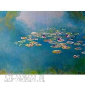 obraz na płótnie - nenufary format 30/40 cm, nenufary, niebieski, natura, zieleń