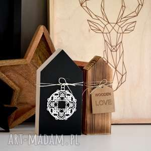 prezent pod choinkę 2 x domki, dom, święta, tablicowy, gwiazda, bombka