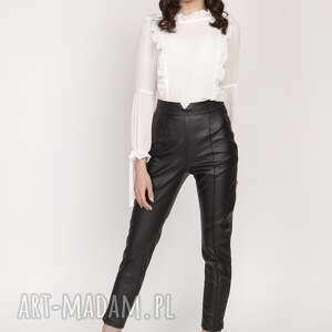 Spodnie z wysokim stanem, sd120 skóra lanti urban fashion