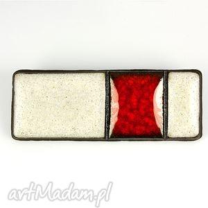 rubinowa - broszki, ceramika, czerwony, kremowy