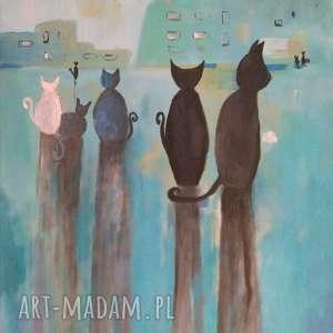 MIASTO KOTÓW IV-obraz akrylowy formatu 30/40 cm, obraz, koty, akryl, turkusy