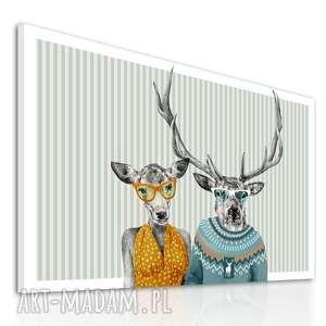 obraz na płótnie - 100x80cm rodzina jeleni 0291 wysyłka w 24h, obraz, jelenie
