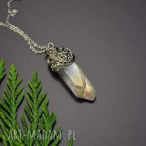 wisiorki wisiorek talizman anielska aura kryształ górski wire wrapping stal