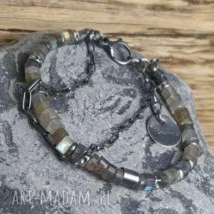 ręczne wykonanie bransoletka srebrna z labradorytami