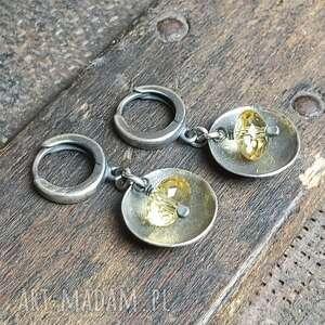 kolczyki ze srebra i cytrynów, srebrne, z cytrynem