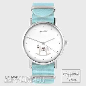 hand made zegarki zegarek - konik na biegunach niebieski, nato