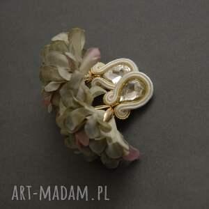 klipsy sutasz z kwiatkiem, sznurek, wyjściowe, delikatne, eleganckie