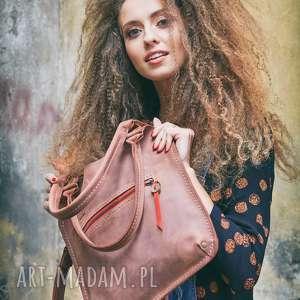 hand-made na ramię torebka skórzana w kolorze ceglanym z okuciami starego złota oraz