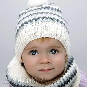 Komplet Alpejski Jasny Merynos Dziecięcy, dziecięca, wełniana, dziergana, ciepła